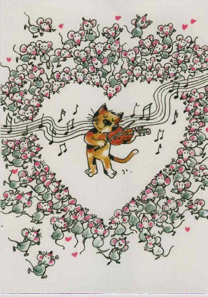 Indexation : Chat - coeur##Auteur : Micheline Le Berre##Légende : Musique au coeur##Editeur : Editions Cartes d'Art##Epoque : Moderne##Propriété : Ani-010-mdv
