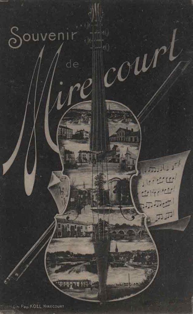 Indexation : Luthier Mirecourt##Légende : Souvenir de Mirecourt##Editeur : Koël, Mirecourt##Epoque : Ancienne##Propriété : Art-023-mdv