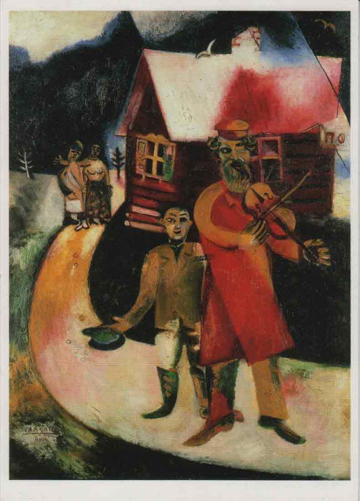 Indexation : Le violoniste, 1911##Huile sur toile##Auteur : Marc Chagall (1887-1985)##Editeur : ProLitteris, Zurich##Epoque : Moderne##Propriété : Pei-002-mdv