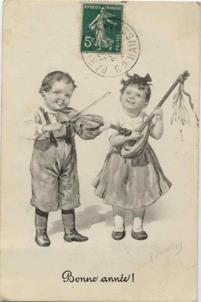 Indexation : Violoniste luthiste##Légende : Bonne année !##Editeur : B. K. W. I. 932-4##Epoque : Ancienne##Propriété : Des-004-mdv