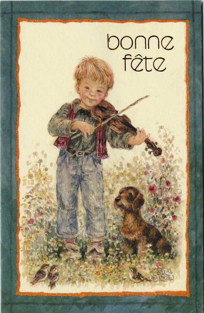 Indexation : Enfant au violon ##Légende : Bonne fête##Editeur : Rhodania, 991326/A ##Epoque : Moderne##Propriété : Des-005-mdv
