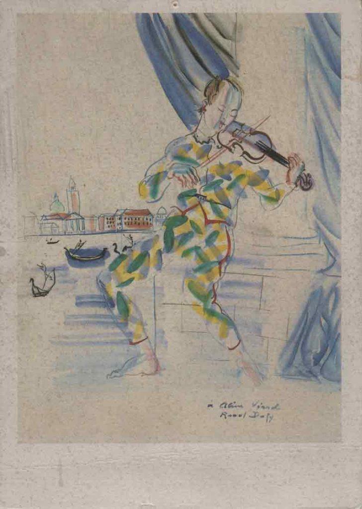 Indexation : Arlequin au violon à Venise, 1942##Gouache sur papier, 65 x 50 cm##Auteur : Raoul Dufy (1877-1953)##Editeur : Nouvelles Images, S.A. Éditeurs, CP 862##Epoque : Moderne##Propriété : Pei-003-mdv