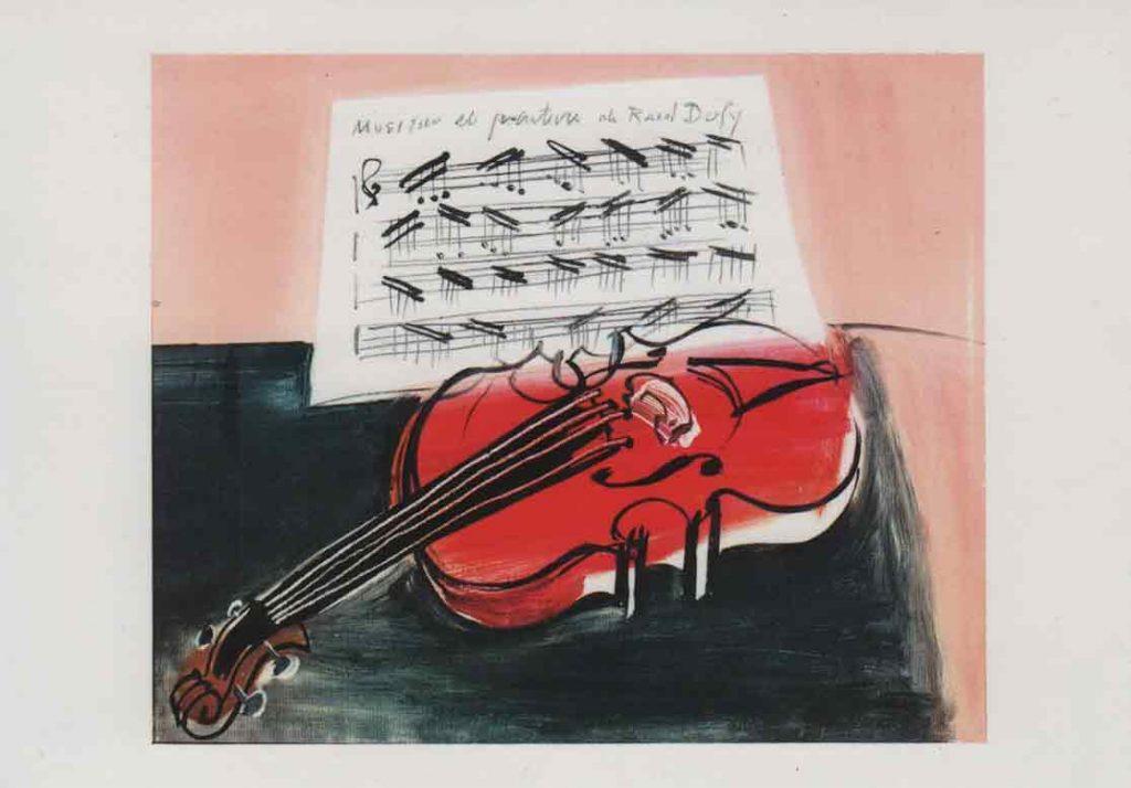 Indexation : Le violon rouge, 1948##Huile sur toile, 38,5 x 46 cm##Auteur : Raoul Dufy (1877-1953)##Editeur : Éditions Hazan, 809##Epoque : Moderne##Propriété : Pei-004-mdv