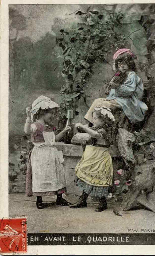 Indexation : Enfant violoneux##Légende : En avant le quadrille##Editeur : P.W., Paris##Epoque : Ancienne##Date : 1907 (affranchissement)##Propriété : Enf-010-mdv