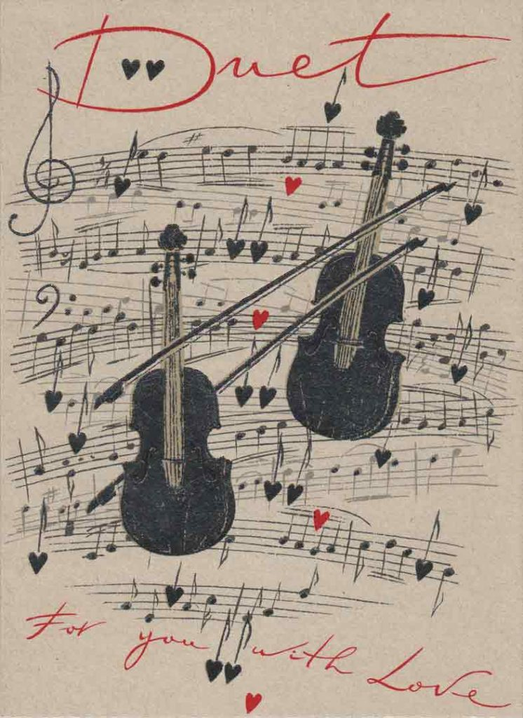 Indexation : Carte violon##Légende : Duet for you with love##Editeur : Turnowsky's Art##Epoque : Moderne##Propriété : Fan-007-mdv