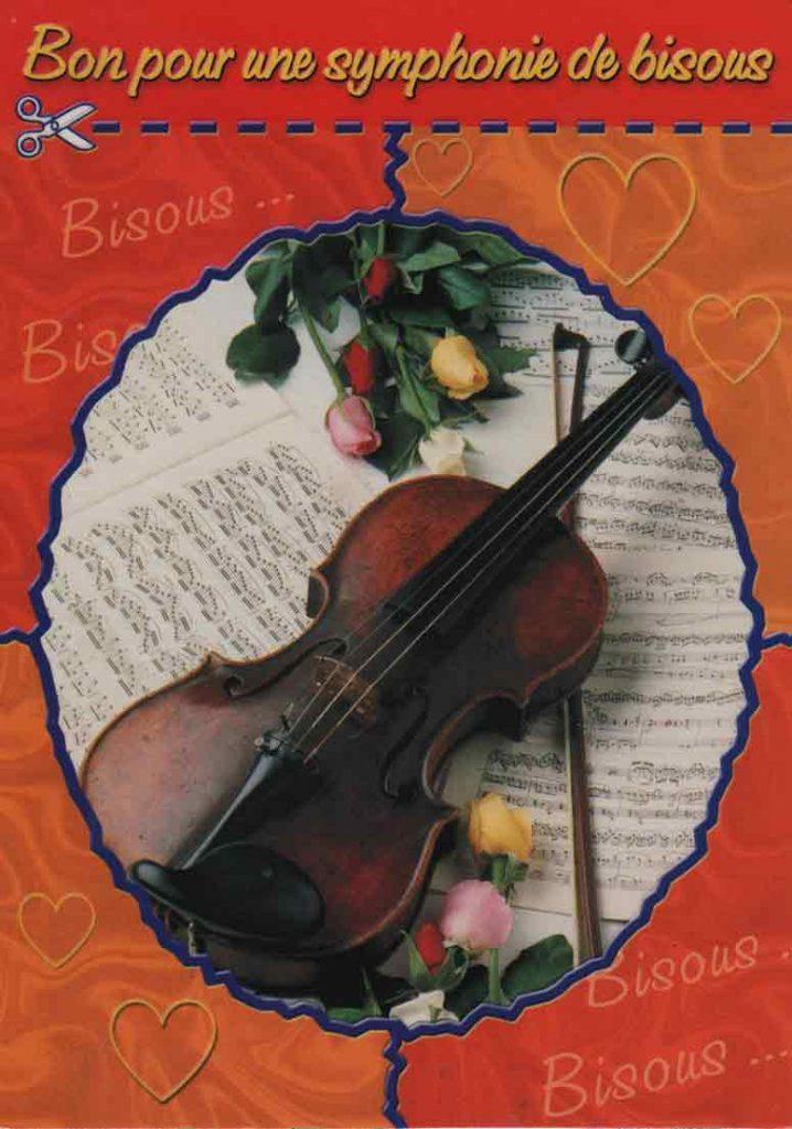 Indexation : Carte romantique##Légende : Bon pour une symphonie de bisous##Editeur : Fotoline##Epoque : Moderne##Propriété : Fan-017-mdv