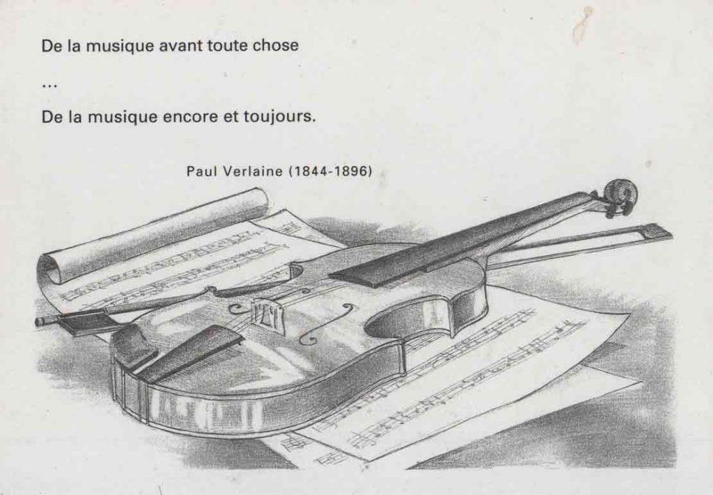 """Indexation : Carte romantique##Légende : """"De la musique avant toute chose,##De la musique encore et toujours.""""##Paul Verlaine##Editeur : Florilège, Laval, n° 81##Epoque : Moderne##Propriété : Fan-095-mdv"""