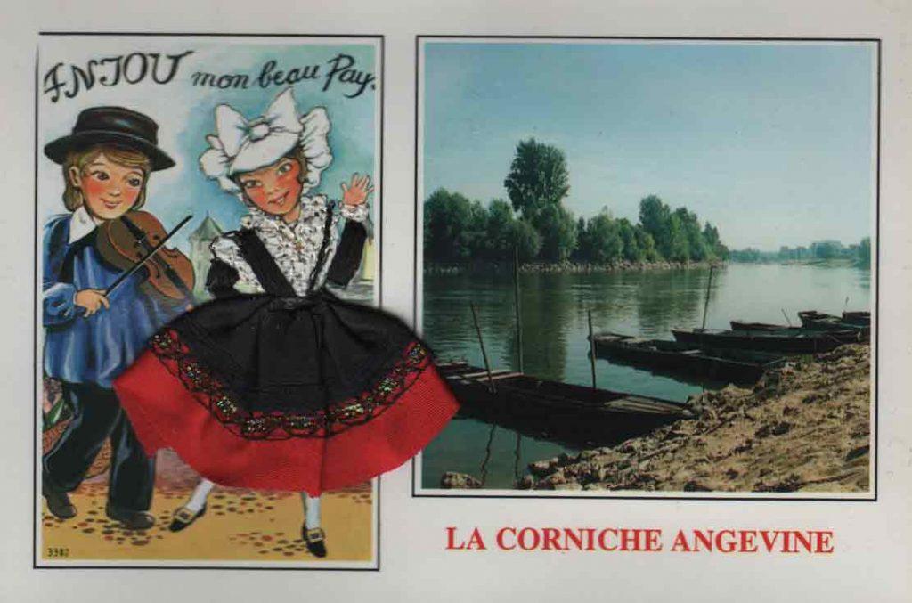 Indexation : Anjou, enfant au violon et danseuse##Légende : Anjou, mon beau pays##La Corniche Angevine##Editeur : Cely##Epoque : Moderne##Propriété : Folk-013-mdv
