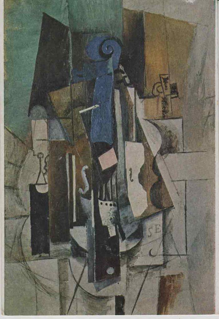 Indexation : Le violon au café (1913)##Huile sur toile, 81 x 54 cm##Auteur : Pablo Picasso (1881-1973)##Editeur : Les Éditions Nomis##Epoque : Moderne##Propriété : Pei-005-mdv