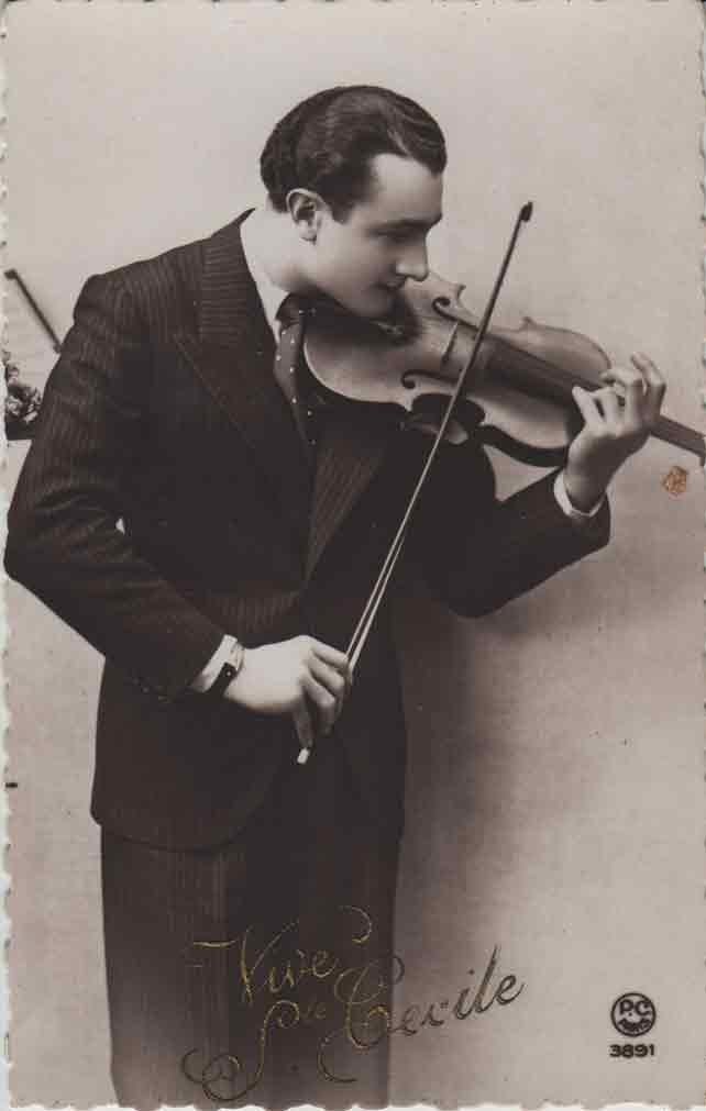 Indexation : Le violoniste##Légende : Vive Ste Cécile##Editeur : P. C. Paris, 3891##Epoque : Ancienne##Propriété : Série01,04-mdv