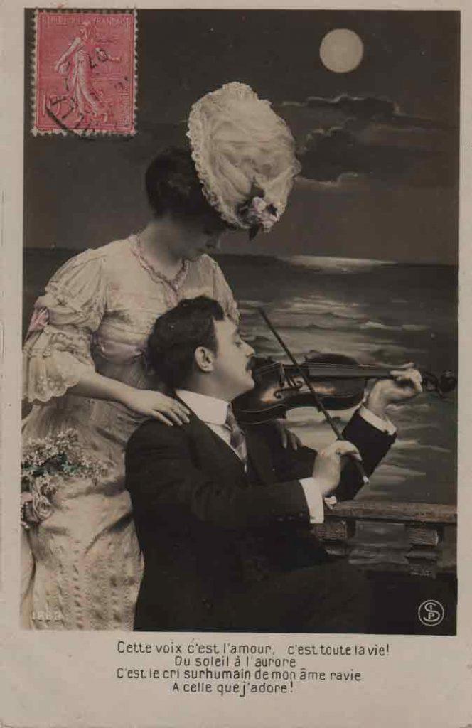 Indexation : Romance au violon##Légende : Cette voix c'est l'amour, c'est toute la vie!##Du soleil à l'aurore##C'est le cri surhumain de mon âme ravie##A celle que j'adore.##Editeur : SIP, 1663##Epoque : Ancienne##Propriété : Série14,06-mdv