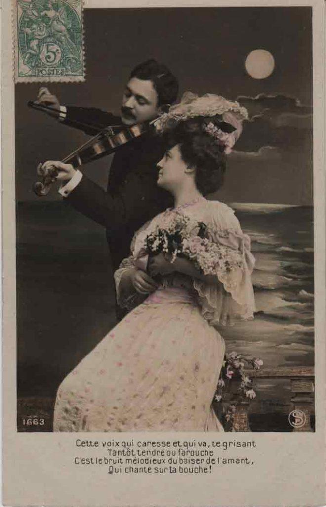 Indexation : Romance au violon##Légende : Cette voix qui caresse et qui va te grisant##Tantôt tendre ou farouche##C'est le bruit mélodieux du baiser de l'amant##Qui chante sur ta bouche!##Editeur : SIP, 1663##Epoque : Ancienne##Date : 1907 (manuscrit)##Propriété : Série14,09-mdv