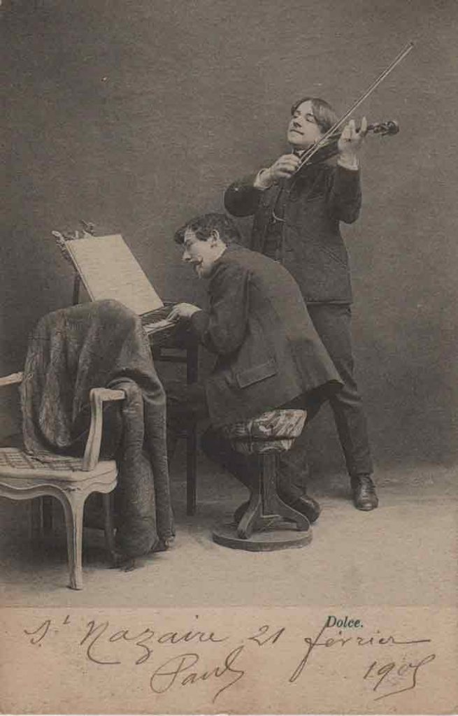 Indexation : Duo piano violon##Légende : Concerto déconcertant, Dolce##Editeur : I. A.##Epoque : Ancienne##Date : 1905 (manuscrit)##Propriété : Série16,01-mdv