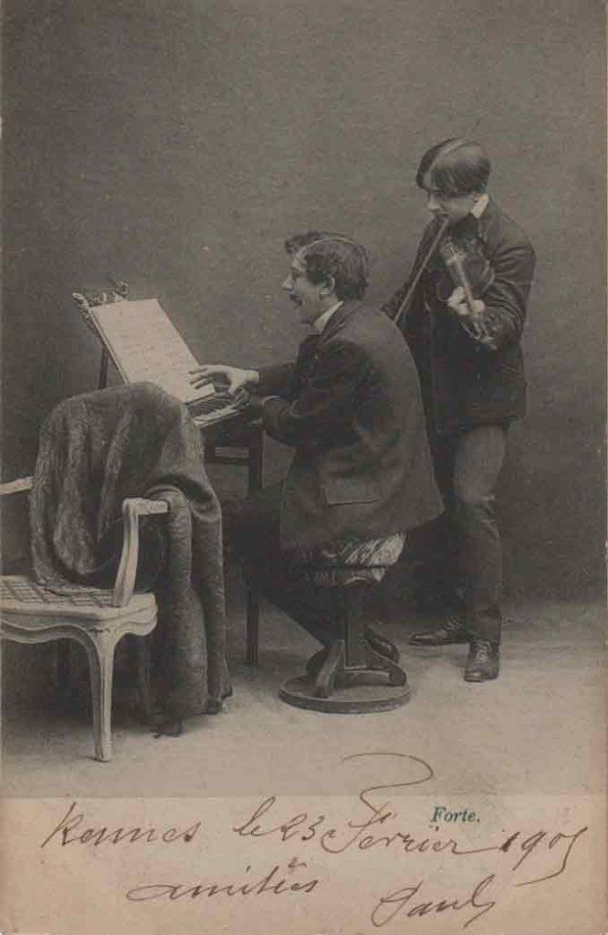 Indexation : Duo piano violon##Légende : Concerto déconcertant, Forte##Editeur : I. A.##Epoque : Ancienne##Date : 1905 (manuscrit)##Propriété : Série16,02-mdv