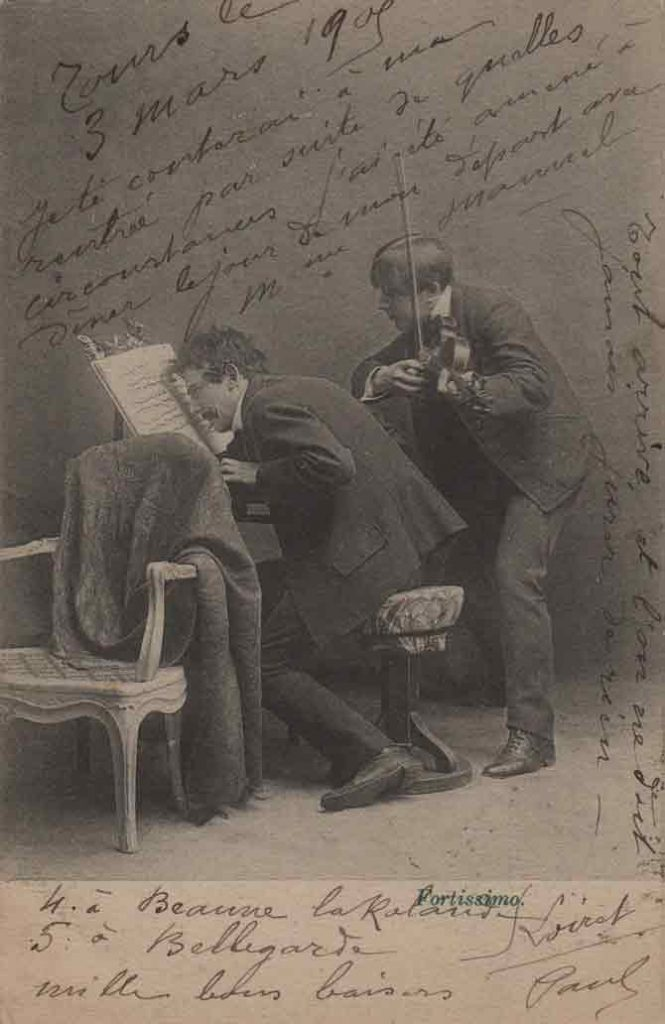 Indexation : Duo piano violon##Légende : Concerto déconcertant, Fortissimo##Editeur : I. A.##Epoque : Ancienne##Date : 1905 (manuscrit)##Propriété : Série16,05-mdv