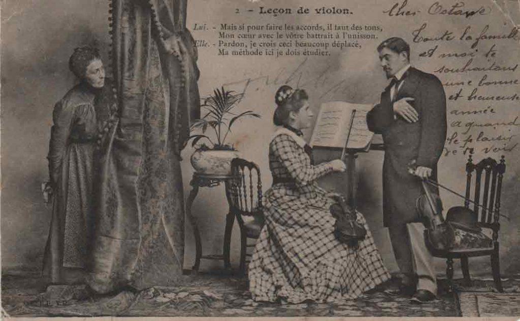 Indexation : Leçon de violon##Légende : Lui. Mais si pour faire les accords, il faut des tons##Mon coeur avec le vôtre battrait à l'unisson##Elle. Pardon, je crois ceci beaucoup déplacé,##Ma méthode ici je dois étudier##Editeur : C. BB V. D.##Epoque : Ancienne##Date : 1904 (affranchissement)##Propriété : Série04,02-mdv