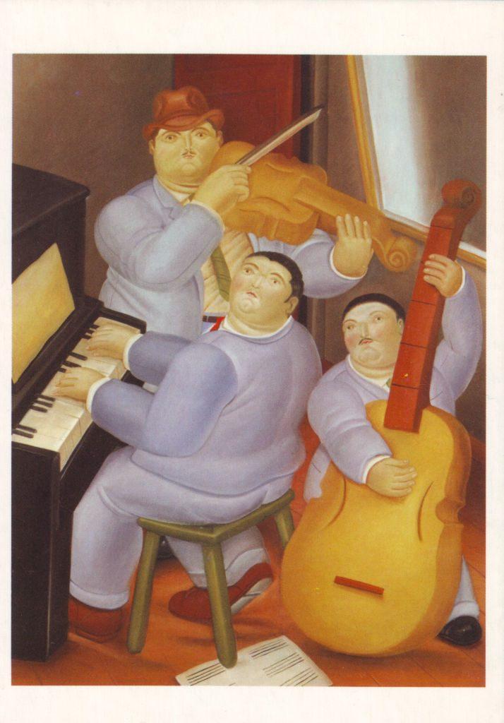 Indexation : Trois Musiciens (1983)##Huile sur toile, 160 x 125 cm##Auteur : Fernando Botero (1932)##Epoque : Moderne##Propriété : Pei 009 - Roy