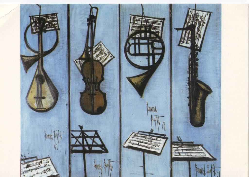 Indexation : Les instruments de musique (1961)##Paravent, peinture à l'huile##Auteur : Bernard Buffet (1928-1929)##Epoque : Moderne##Propriété : Pei 010 - Roy