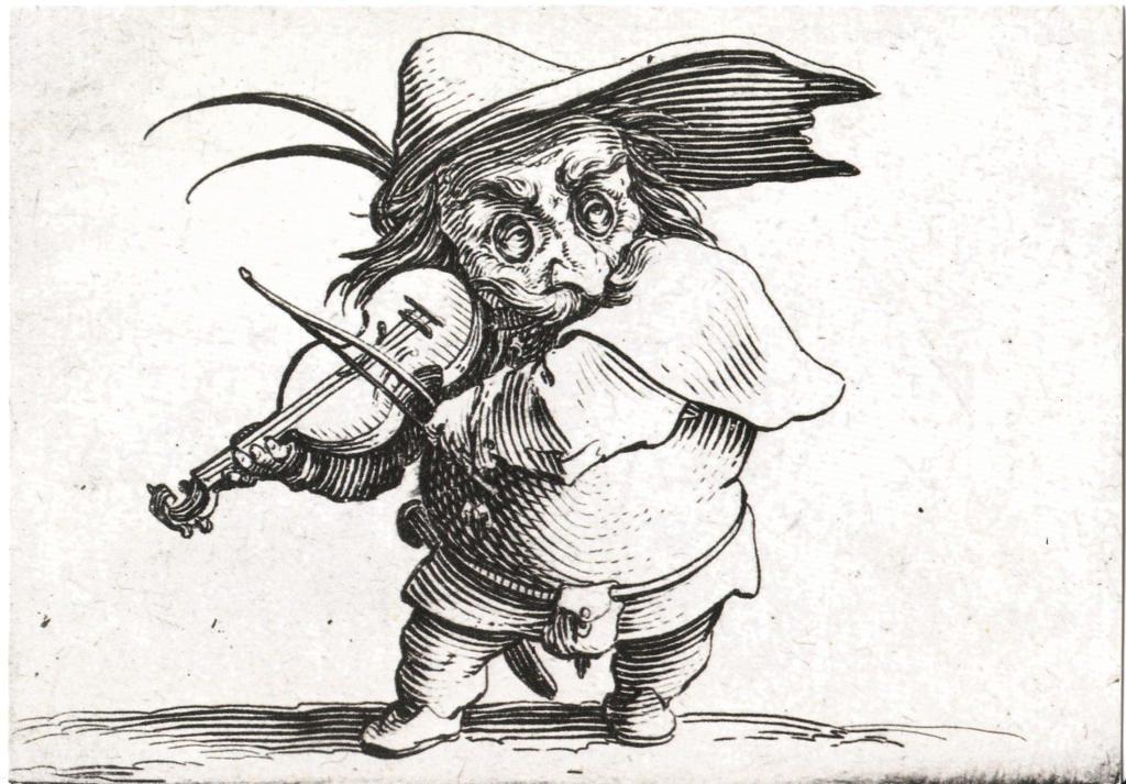 Indexation : Le joueur de violon##Auteur : Jacques Callot (1592-1635)## Dessinateur et graveur lorrain##Epoque : Moderne##Propriété : Pei 011 - Roy
