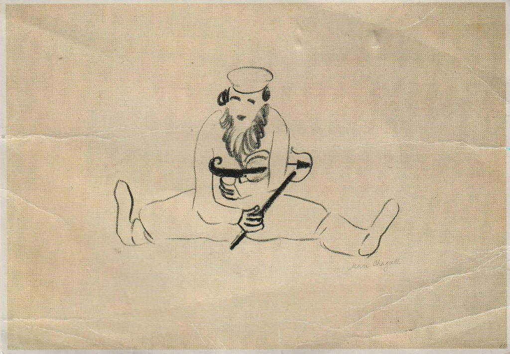 Indexation : Homme barbu au violon (1922)##Lithogravure, 16 x 24.6 cm##Auteur : Marc Chagall (1887-1985)##Editeur : Art unlimited, Amsterdam##Epoque : Moderne##Propriété : Pei-012-mdv