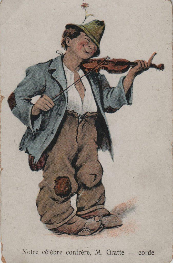 Indexation : Violoniste##Légende : Notre célèbre confrère, M. Gratte-Corde!##Epoque : Ancienne##Propriété : Des-002-mdv
