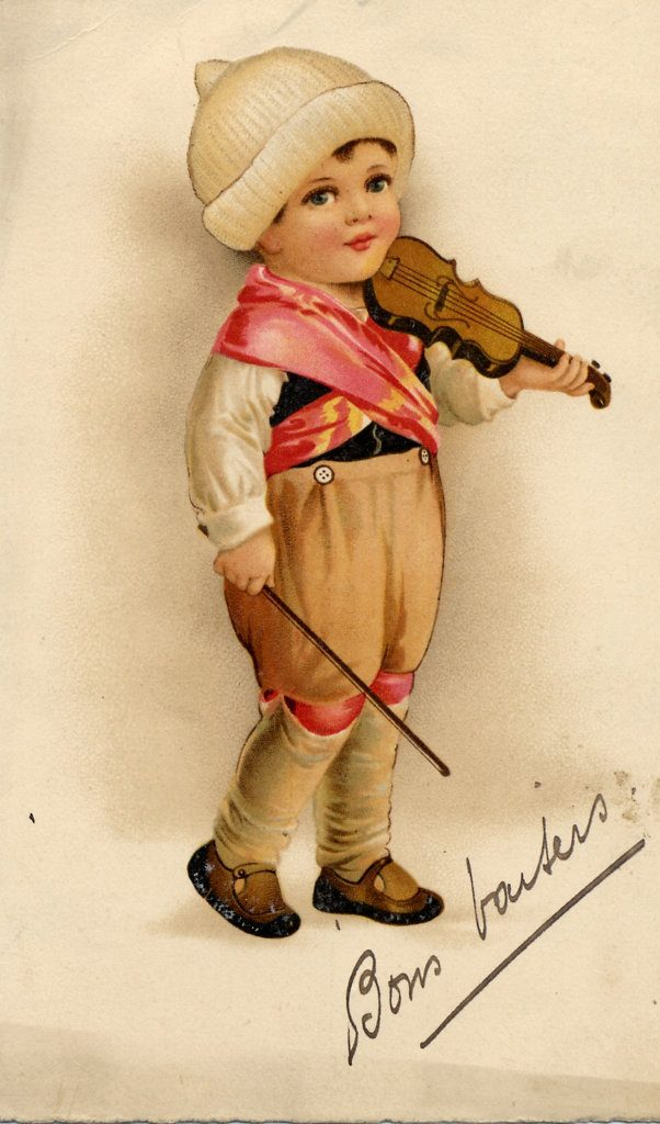 Indexation : Enfant au violon ##Légende : Bons baisers##Epoque : Ancienne##Propriété : Des-006-mdv