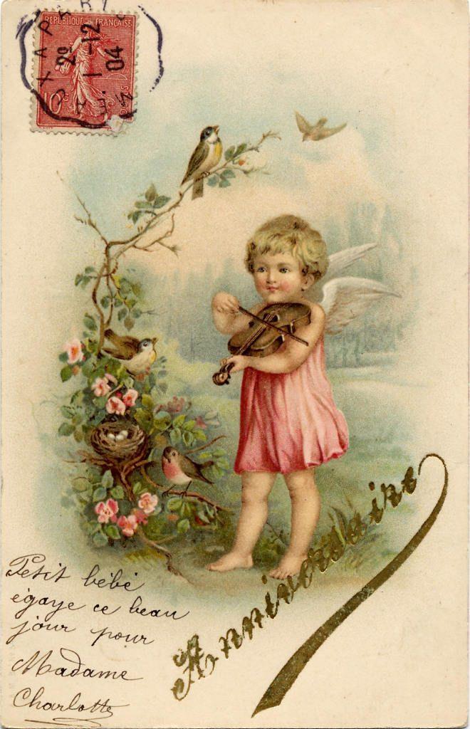 Indexation : Angelot au violon ##Légende : Anniversaire##Date : 1904 (affranchissement)##Epoque : Ancienne##Propriété : Des-007-mdv