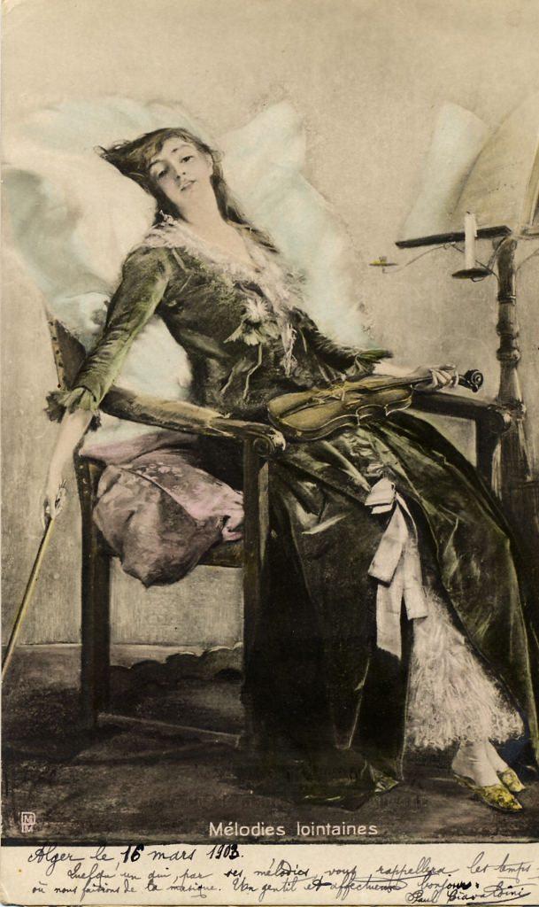 Indexation : Femme au violon##Légende :Mélodies lointaines##Editeur : PMM##Epoque : Ancienne##Propriété : Des-008-mdv
