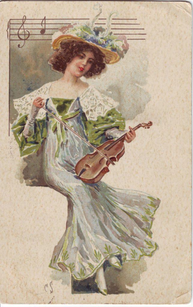 Indexation : Femme au violon##Epoque : Ancienne##Propriété : Des-011-Roy