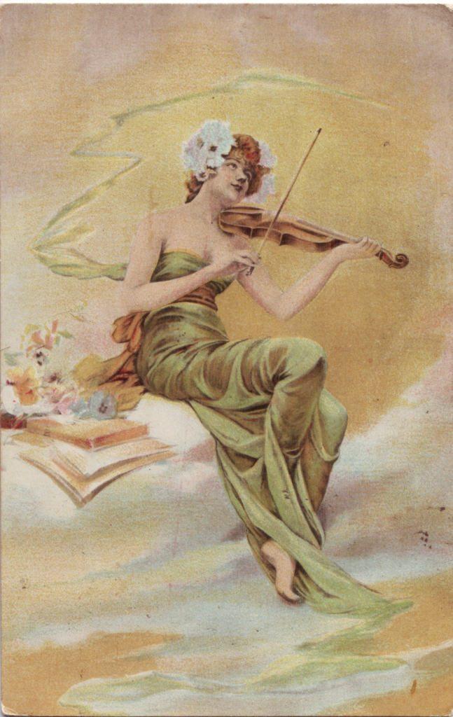 Indexation : Femme au violon##Epoque : Ancienne##Propriété : Des-012-Roy