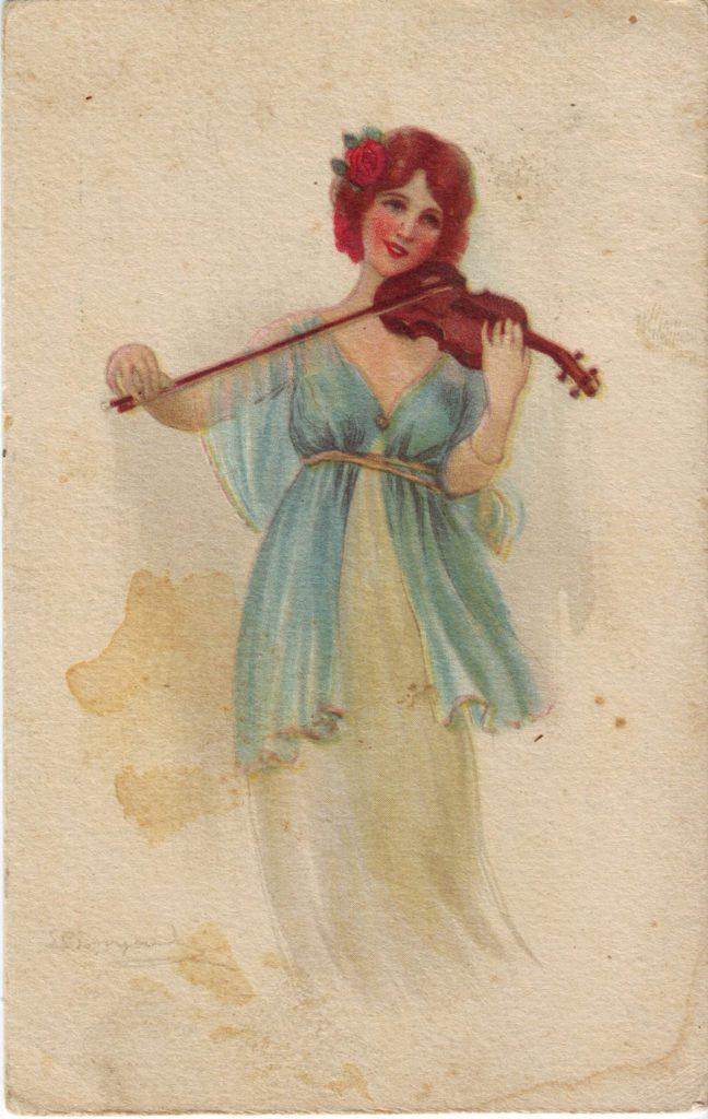 Indexation : Femme au violon##Epoque : Ancienne##Propriété : Des-013-Roy