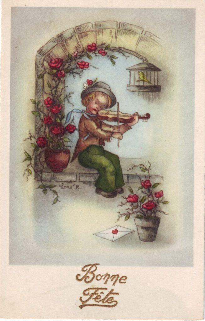 Indexation : Enfant au violon ##Légende : Bonne fête##Epoque : Ancienne##Propriété : Des-015-Roy