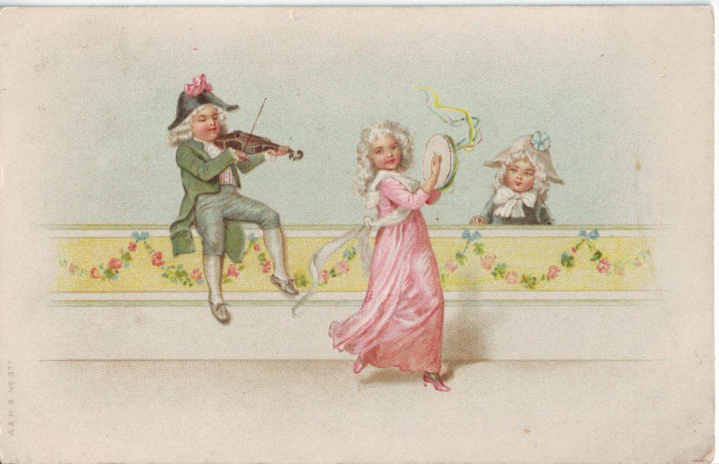 Indexation : Enfant au violon et tambourin##Epoque : Ancienne##Propriété : Des-017-Roy