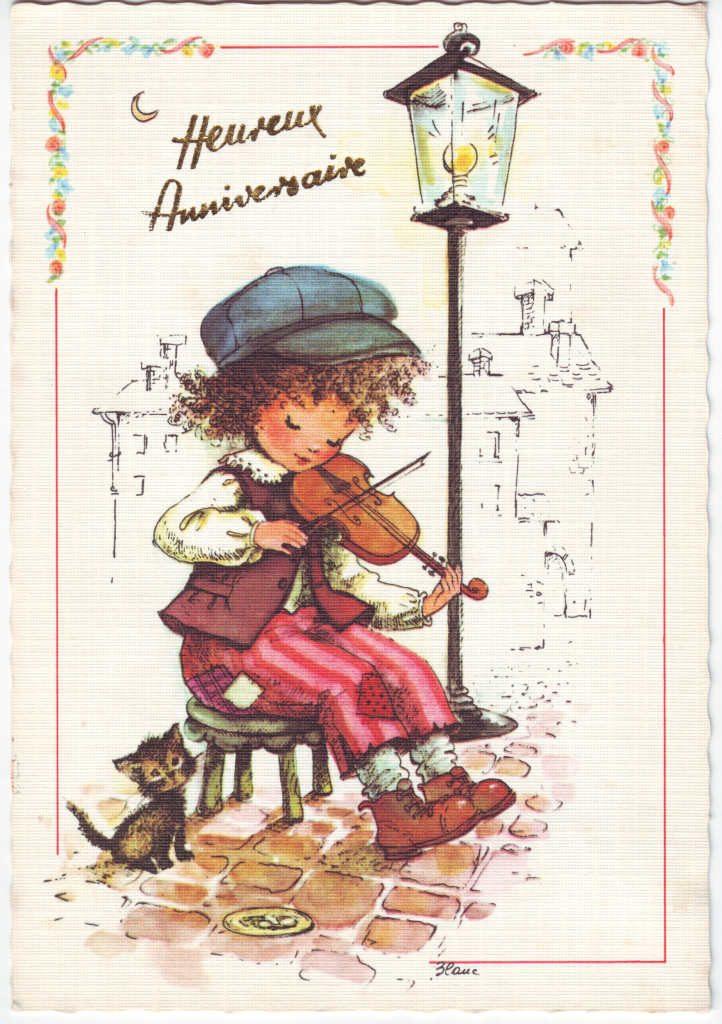 Indexation : Enfant au violon ##Légende : Heureux anniversaire##Epoque : Moderne##Propriété : Des-018-Roy