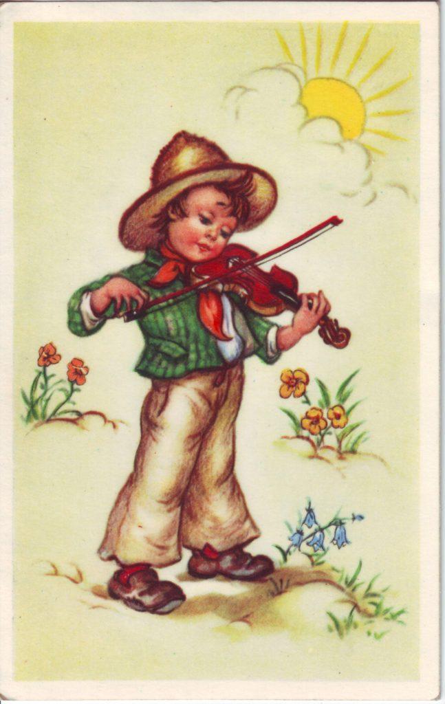 Indexation : Enfant au violon##Légende : Bonne fête##Epoque : Ancienne##Propriété : Des-019-Roy