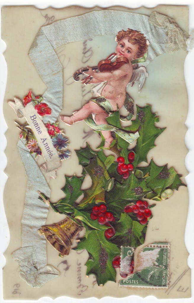 Indexation : Angelot au violon ##Légende : Bonne année##Epoque : Ancienne##Propriété : Des-020-Roy