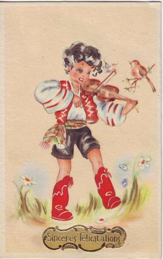 Indexation : Enfant au violon ##Légende : Sincères félicitations##Epoque : Ancienne##Propriété : Des-021-Roy