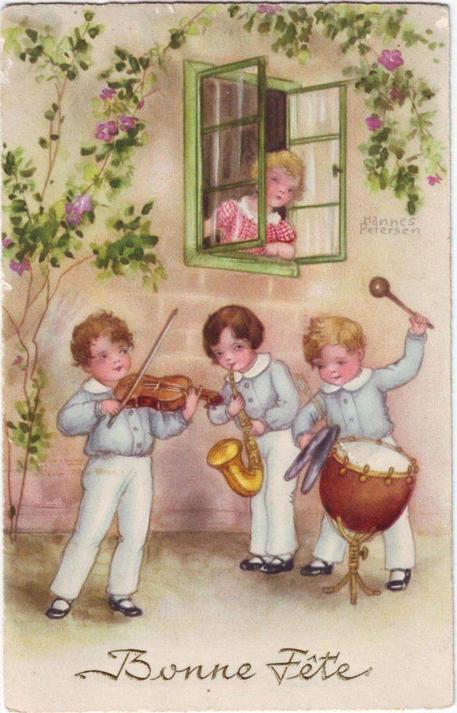 Indexation : Enfant au violon, saxophone et tambour##Légende : Bonne fête##Auteur : Mânnes Petersen##Epoque : Ancienne##Propriété : Des-022-Roy