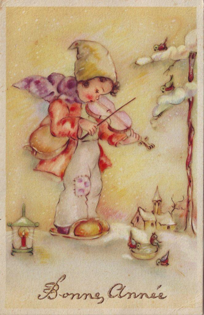 Indexation : Enfant au violon ##Légende : Bonne année##Epoque : Ancienne##Propriété : Des-024-Roy