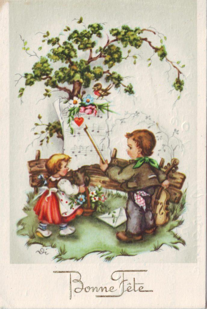 Indexation : Enfant au violon ##Légende : Bonne fête##Epoque : Ancienne##Propriété : Des-025-Roy