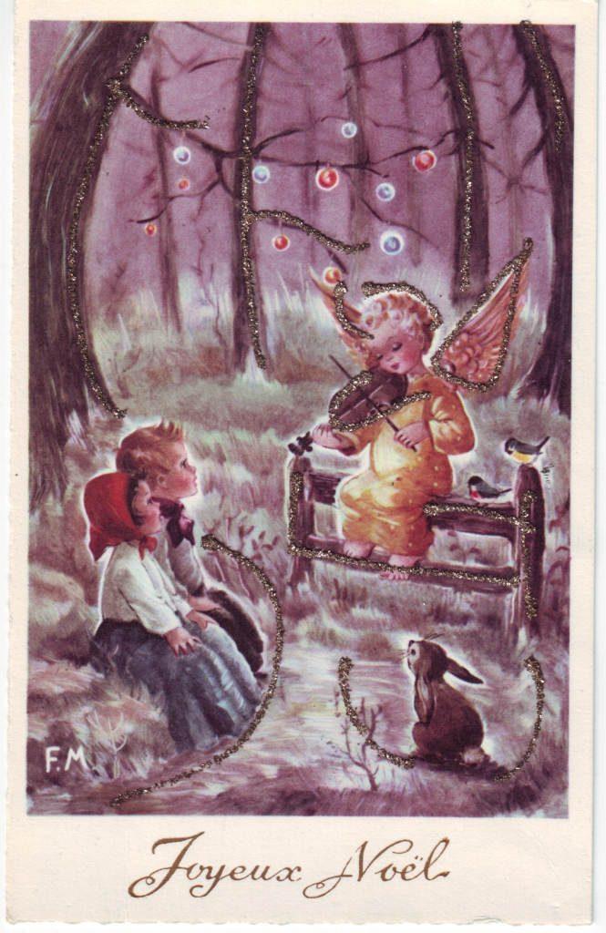 Indexation : Angelot au violon ##Légende : Joyeux Noël##Auteur : P. M.##Epoque : Ancienne##Propriété : Des-028-Roy