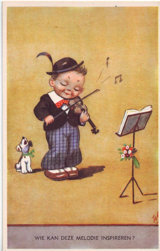 Indexation : Enfant au violon ##Légende : Wie kan deze melodie inspireren ?##Epoque : Ancienne##Propriété : Des-029-Roy