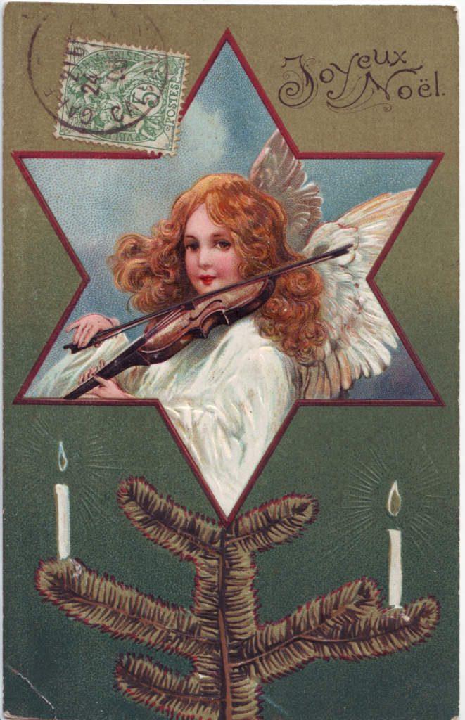 Indexation : Angelot au violon ##Légende : Joyeux Noël##Epoque : Ancienne##Propriété : Des-032-Roy