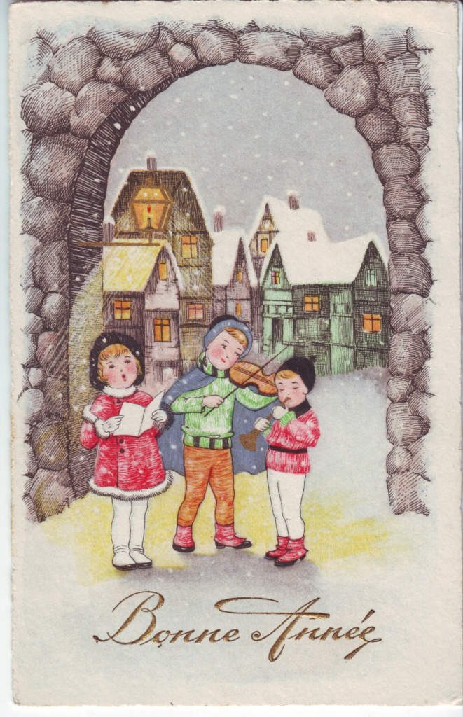 Indexation : Enfant au violon ##Légende : Bonne année##Epoque : Ancienne##Propriété : Des-035-Roy