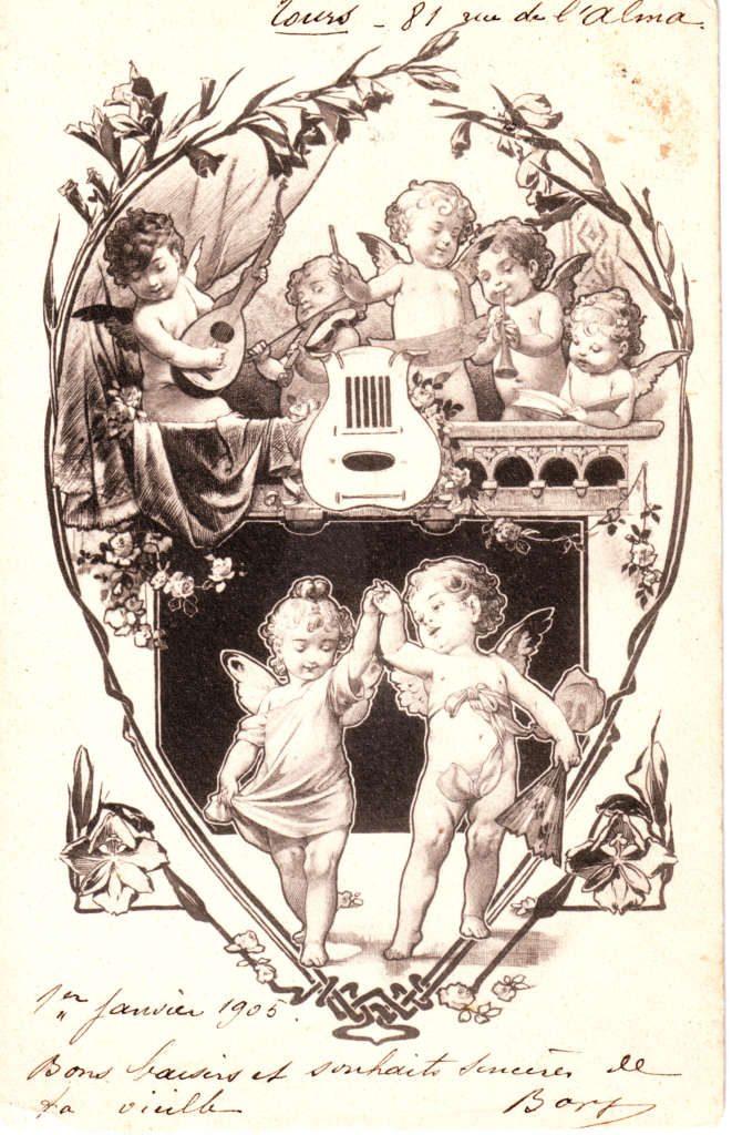 Indexation : Angelot au violon##Date : 1905 (manuscrit)##Epoque : Ancienne##Propriété : Des-044-Roy