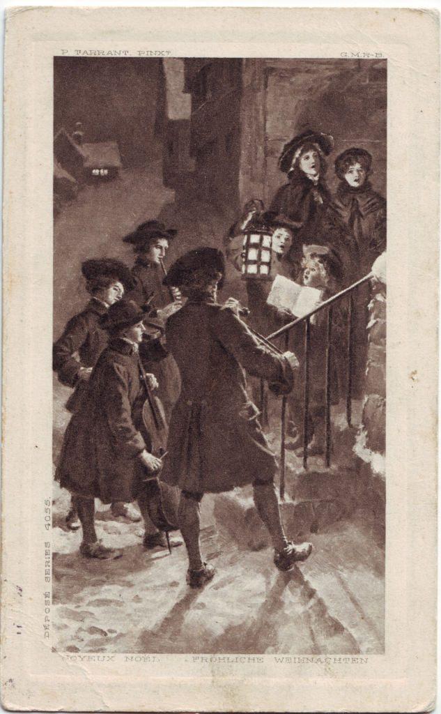 """Indexation : Petit orchestre de rue##Légende : """"Joyeux Noël""""##""""Frohliche Weihnachten""""##Editeur : Déposé séries 4055##Epoque : Ancienne##Propriété : Des-046-Roy"""