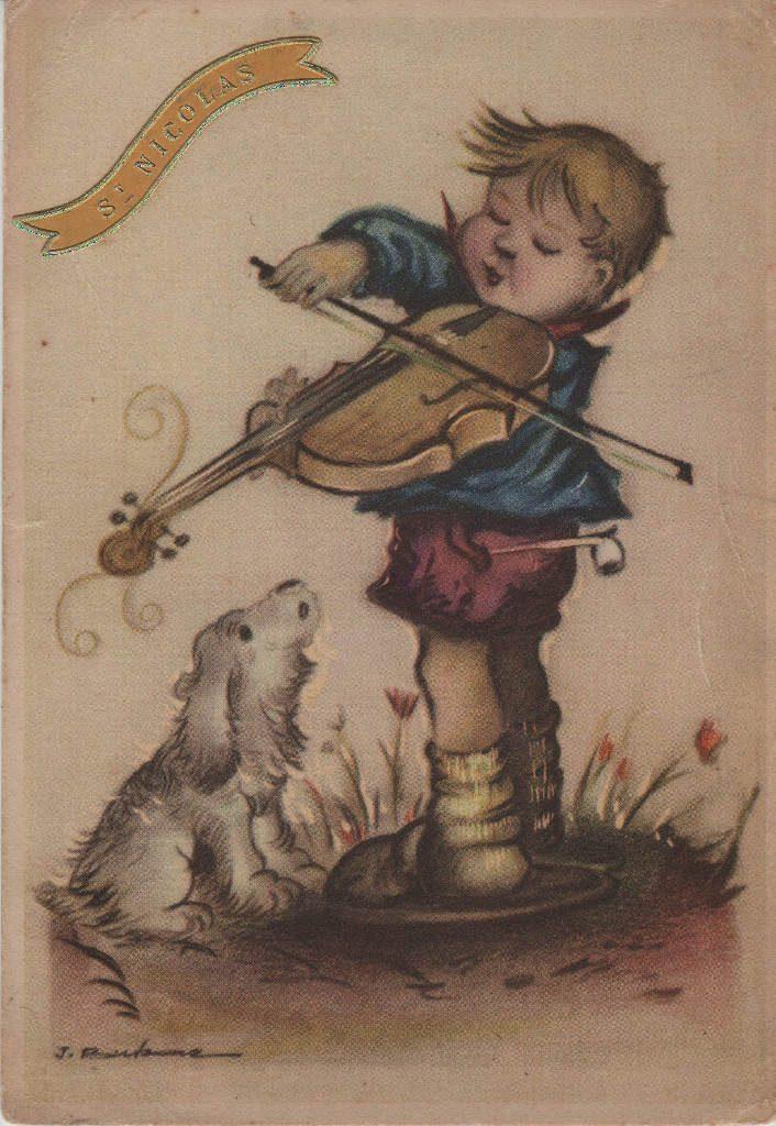 """Indexation : Enfant au violon##Légende : """"Saint Nicolas""""##Epoque : Ancienne##Propriété : Des-048-Roy"""