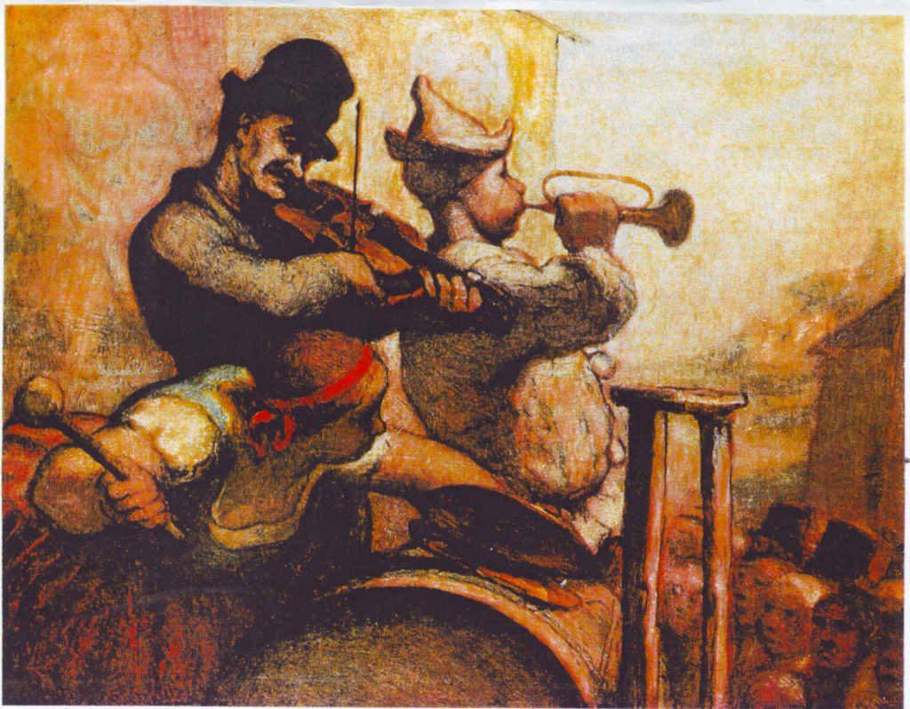 Indexation : Violoniste, clairon, tambour##Epoque : Ancienne##Propriété : Des-049-Roy
