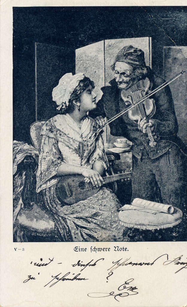 """Indexation : Violoniste##Légende : """"Eine schwere note""""##Epoque : Ancienne##Propriété : Des-052-mdv"""