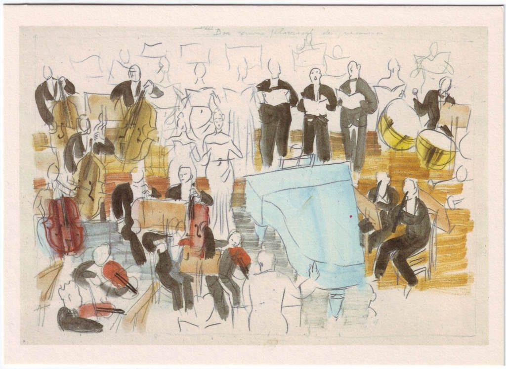 """Indexation : Orchestre##Légende : """"Bon comme placement des musiciens""""##Epoque : Moderne##Propriété : Des-061-Roy"""